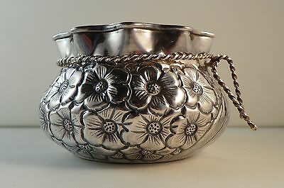 900 Silver Bowl in the Form of a Bag with Rope Tie.  Repousse Floral Motif.