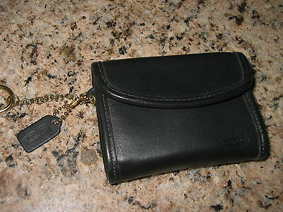 Coach Vintage Classic Black Leather Coin Purse / Card / Wallet with Key Chain