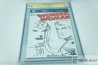 Wonder Woman 19 Signed Sketched Comic by Manapul & Buccelllato CGC 9.8 Graded