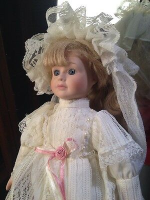 """Beautiful Porcelain Bride Doll Off White Lacy Gown with Pink Rosette Accents 17"""""""