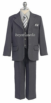 Boy's 5 Pc  Grey Gray Pinstripe Suit Tuxedo Formal w/Vest Toddler Teen All Sizes
