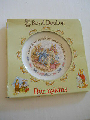 ♥COLLECTABLE♥ROYAL DOULTON♥ BUNNYKINS♥BOXED♥CHRISTENING♥ PLATE♥ made in England