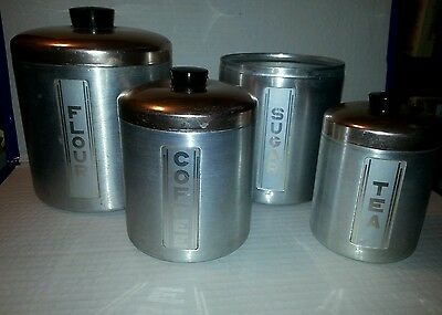 VINTAGE MAID OF HONOR ALUMINUM COPPER TOP 4 PIECE CANISTER SET