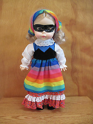Effanbee doll 1978 vtg vinyl  Gypsy mask  blonde rainbow colors bandana 16""