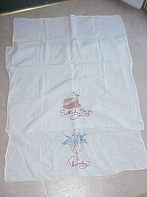 VINTAGE style EMBROIDERED  TOWELS ON MUSLIN cross stitch Feedsack