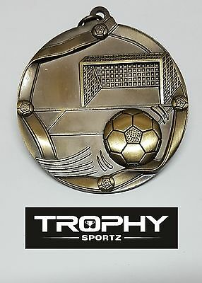 1 X SOCCER 60mm MEDAL,TROPHY, GOLD,FREE RIBBON, FREE ENGRAVING.