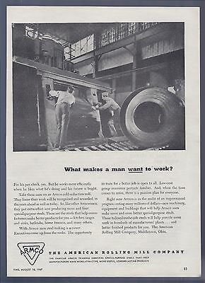 Vintage Ad -Armco, The American Rolling Mill Co. - August 1947