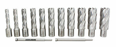 """13 Pcs 7/16"""" to 1-1/16"""" Annular Cutters, 2"""" Cutting Depth with 2 Pilot Pins, #N1"""