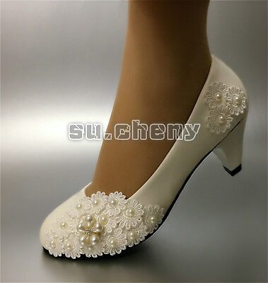 White lace pearls bow flowers crystal Wedding flat shoes ballet Bridal shoes sz