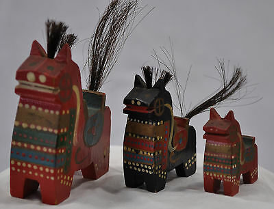 Antique Lot of 3 Carved & Painted Wooden Horses with Faux Hair