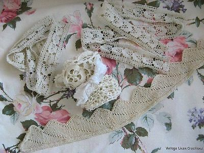 AnTiQuE CROCHET LACE Trims ROMANTIC Vintage Handmade LACY FRIPPERY LOT 4 CRAFTS