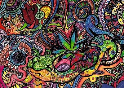 "Psychedelic Trippy Art Silk Cloth Poster 36 x 24"" Decor 03"