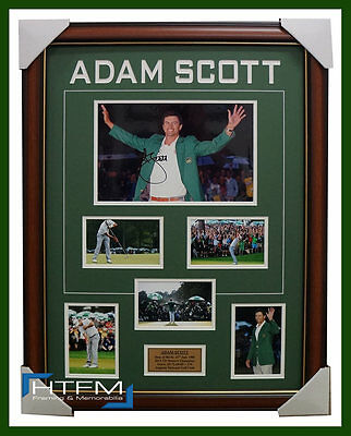 Adam Scott 2013 US Masters Champion Signed Photo Collage Framed Green Jacket