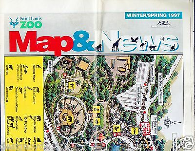 vtg 1990s 1997 St Louis Zoo illustrated color map winter news Forest Park animal