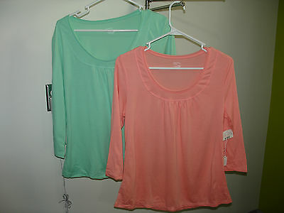 NWT Lot of 2 Secret Treasures U-Neck 3/4 Sleeve M 8/10 Sleepwear 305-4185 & 4182