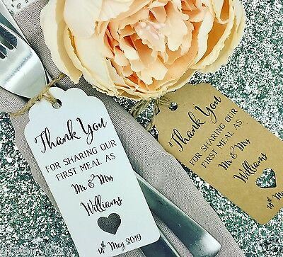 """Personalised Wedding Favour Gift Tag """"Thank you"""" Guest Label Kraft/ Napkin Ring"""