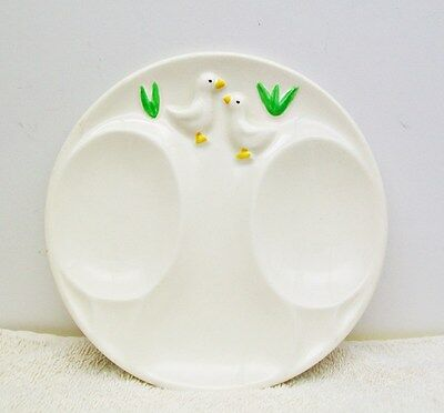 Vintage TREASURE CRAFT Two SPOON REST Plate Dish DUCKS Made in U.S.A,