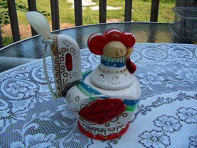 """ROOSTER """"LEGO"""" MADE IN JAPAN ART POTTERY CANTAINER W/SP"""