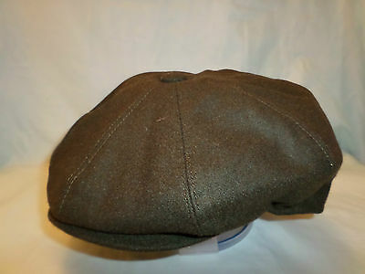 MENS GREEN BAKER BOY CAP NEWSBOY PAPERBOY 8-PANEL HAT 1920's FRONT BUTTON CLASP
