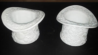 A PAIR OF FENTON WHITE MILK GLASS DAISY AND BUTTON HAT VINTAGE VERY NICE!