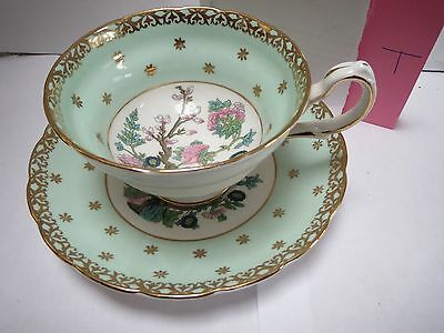 Westbrook Teacup And Saucer - Indian Tree Design With Light Green And Gold - T