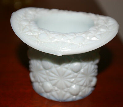 FENTON DAISY AND BUTTON WHITE MILK GLASS TOP HAT VASE TOOTHPICK HOLDER