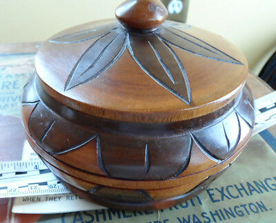 Vintage 1976 Hand Carved Solid Wooden Bowl with Lid from Antilles Islands