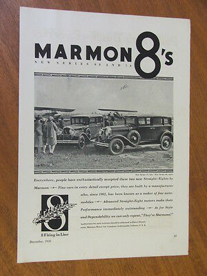 1928 Marmon 8's Series 68 and 78 original US full page advertisement