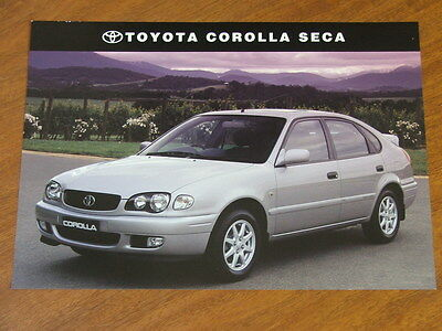 2001 Toyota Corolla Seca original double sided specification sheet