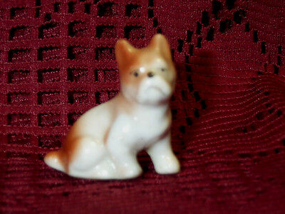 """Vintage Bull Terrier White Brown Porcelain Puppy Dog Figurine 1 1/4"""" Tall Nice"""