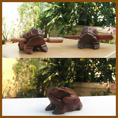 1x Thai Wooden Frog original Teak Wood Hand Carved Croaking Percussion Sound TOY