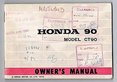 Honda Ct 90 Owner's Manual Printed 1972 Also Rare Bonus Factory Foldout Included