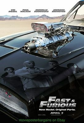 FAST AND THE FURIOUS 4 MOVIE POSTER DS 27x40 ADVANCE VER. PAUL WALKER VIN DIESEL