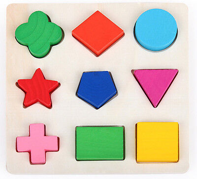 9 Shape Wooden Plates Colorful Building Blocks Baby Educational Bricks Toy Craft