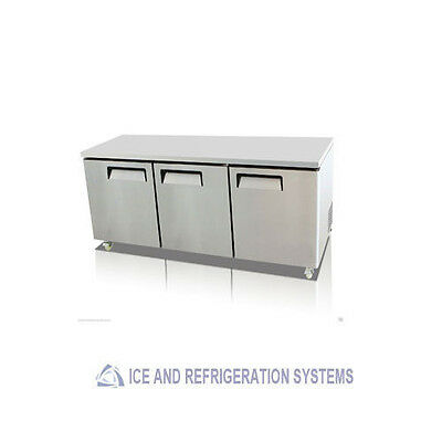 "Stainless Steel 72"" Commercial Undercounter Reach In Refrigerator Cooler"