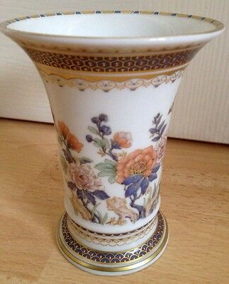Beautiful Vintage Kaiser Duchesse German Flared Cylindrical Floral / Gilt Vase