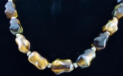 ATQ Chinese Export Graduated Tiger's Eye Beaded Necklace Silver Filigree Clasp