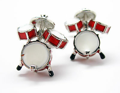Ultimate Drum Set Red and White Drums Cufflinks Cuff Links Music Rock Band Jazz