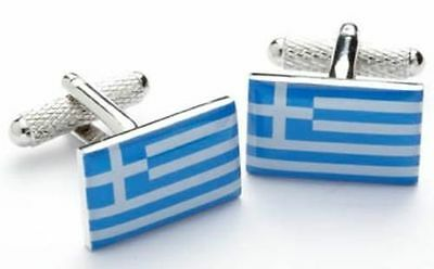 Greek Flag Greece Cufflinks New in Box Free Shipping