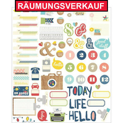 RÄUMUNGSVERKAUF  Simple Stories Life Documented Die Cuts Stanzteile Scrapbooking