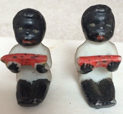 Vintage Pair (2) Mini Black Americana Figurines Boy Eating Watermelon Porcelain