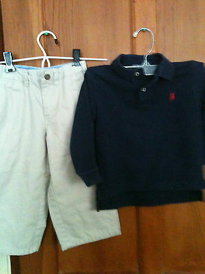 TWO PIECES Boys Size 2 100% Cotton Baby Gap Pants and Ralph Lauren Polo Shirt