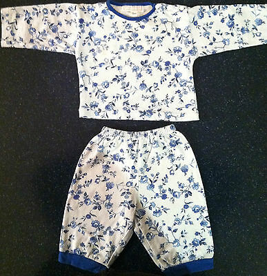NEW MALINA GIRLS SIZE 3 MONTHS COTTON OUTFIT BLUE & WHITE FLOWERS FROM PARIS