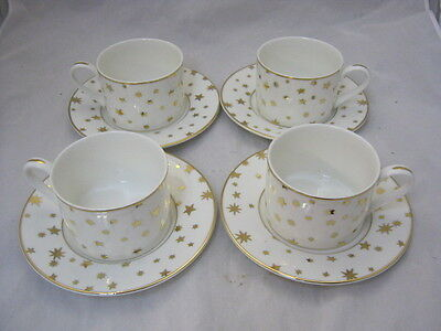 Sakura GALAXY White Coffee Tea Cup & Saucer Set of 4 Retired 14 K Gold Stars MIB