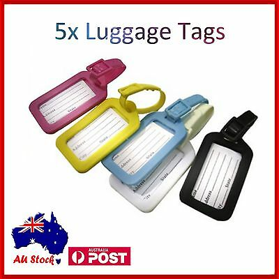 5 x Luggage Tag Tavel ID Tags Plastic Address Label for School Backpack Handbag
