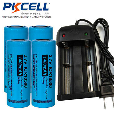 4pcs 18650 Battery and Smart Dual Charger for Vape Mod Unprotected 3.7V 2200mAh