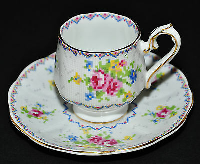 ROYAL ALBERT TINY PETIT POINT DEMITASSE COFFEE OR TEACUP & SAUCER - RARE VINTAGE