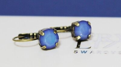 Sky Blue Opal Leverback Earrings made with Swarovski Crystal Elements