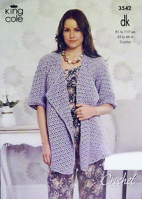 "King Cole DK Crochet pattern Ladies jumper cardigan 32"" - 46""   3542"