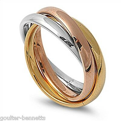 316L Stainless Steel Tricolour Russian Rolling Wedding Trinity Ring